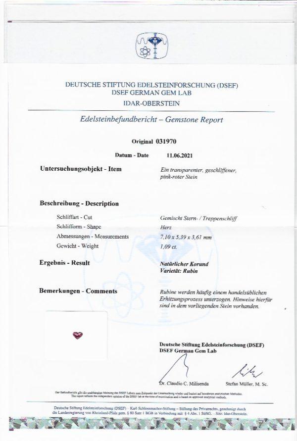 Rubin 1,09 ct. mit Zertifikat Rubin kaufen Schmucksteine Edelsteine 6