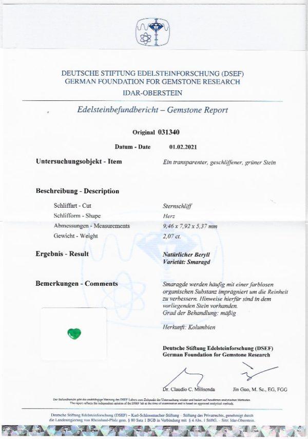 Smaragd 2,07 ct. mit Zertifikat Alle Edelsteine kaufen Schmucksteine Edelsteine 5
