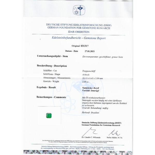 Smaragd 3,69 ct. mit Zertifikat Alle Edelsteine kaufen Schmucksteine Edelsteine 7